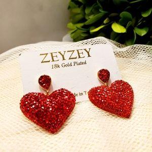 ZeyZey 18k Gold Plated Red Heart Dangle Earrings